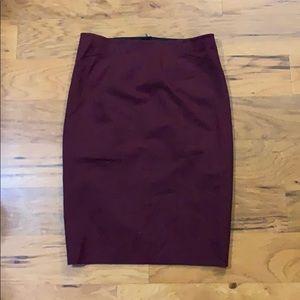 Ann Taylor Burgundy Pencil Skirt